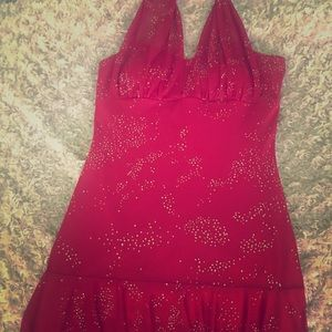 Red sequence dress